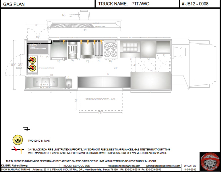 Cad gas plan food trucks for sale used food trucks for Food truck layout plans