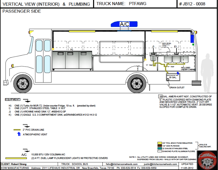 Cad Vertical View W Interior And Plumbing Food Trucks For Sale Used Food Trucks